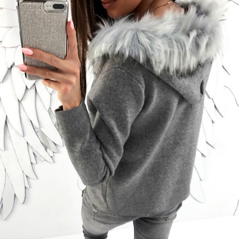 Warm Winter Fur Hooded Women Sweatshirts 2017 Autumn Zipper Hoody Long Sleeve Casual Hoodies Ladies Sweatshirts Plus Size GV037