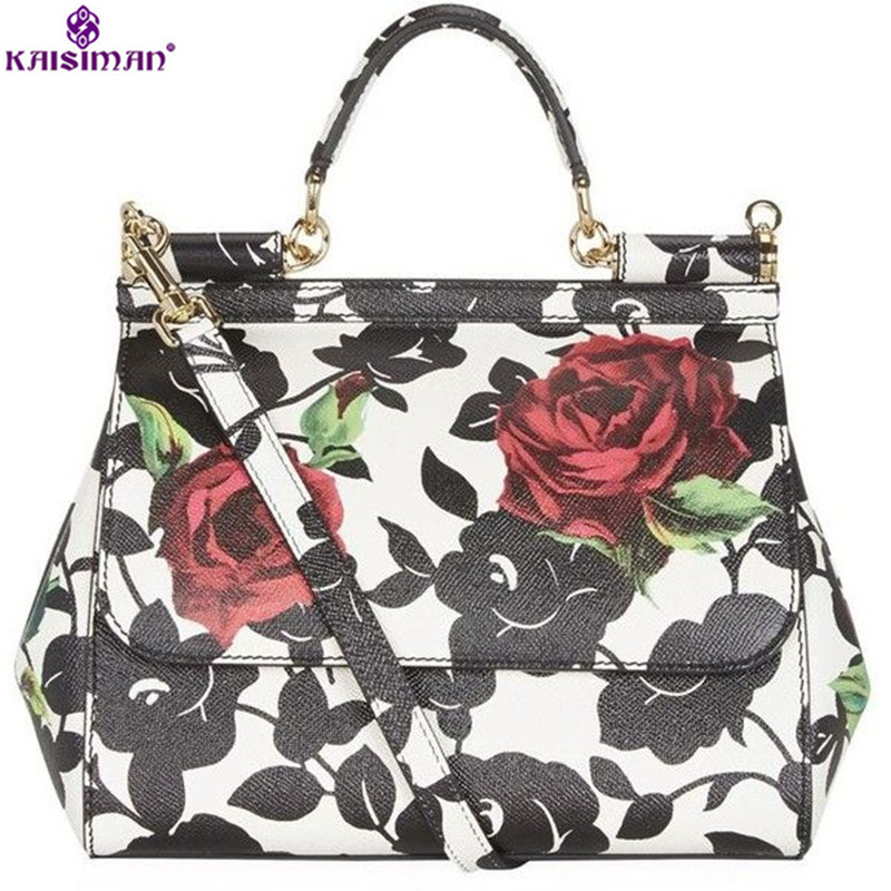 Luxury Brand Genuine Leather Women Bags Sicily Big Black Flower Handbags Rose Printed Shoulder Bags Platinum Tote Bag Sac A Main