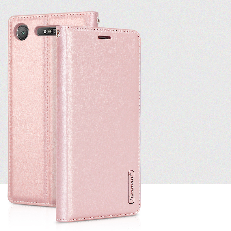 Hanman For Sony Xperia XA1 Plus XZ1 Compact Luxury Leather Wallet Case Silicon Back Cover Magnetic Close Card Slot for Sony XZ1