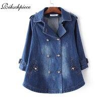 Rihschpiece lente oversized jeans jas vrouwen poncho vintage denim jassen lange mouw basic jas vrouwelijke pocket jas rzf1216