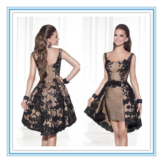 Apliques de encaje escote cuadrado desmontable de tren de noche vestido de noche gownrobe soirée ( YASA-816 )