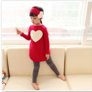 3PCS/SET pants kids Children's baby Clothing set hat Girl girls leggings winter clothes autumn warm Cloth suits Heart Design