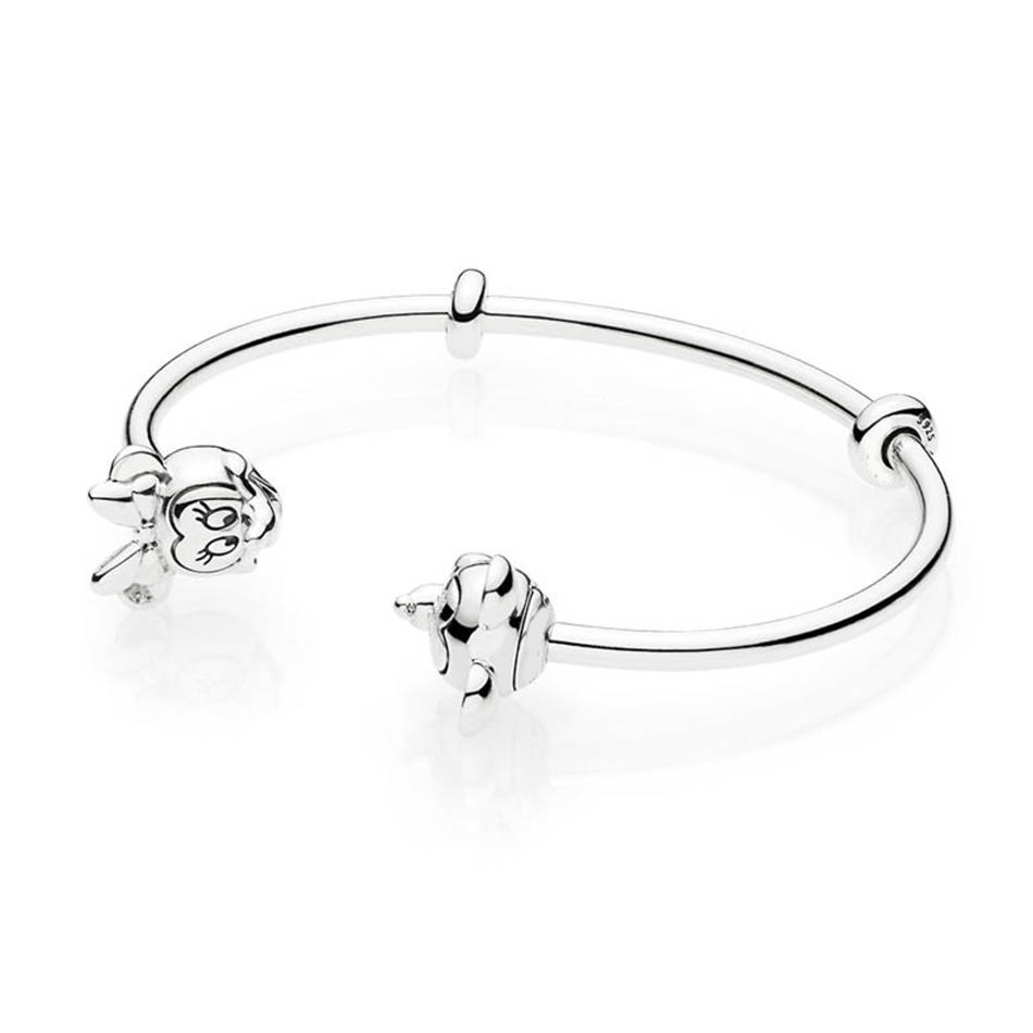 Authentic 925 Silver Jewelry Women Bangle Mickey and Minnie Signature Open Bangle fit Lady Charms BeadsAuthentic 925 Silver Jewelry Women Bangle Mickey and Minnie Signature Open Bangle fit Lady Charms Beads