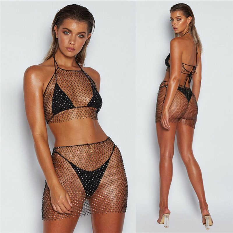 แฟชั่นเลื่อมเพชร 2019 Fishnet 2 ชิ้นชุดผู้หญิงเซ็กซี่ Crop Top + ผ้าพันคอกระโปรงผู้หญิงฤดูร้อนผ้าสามารถแยกจำหน่าย