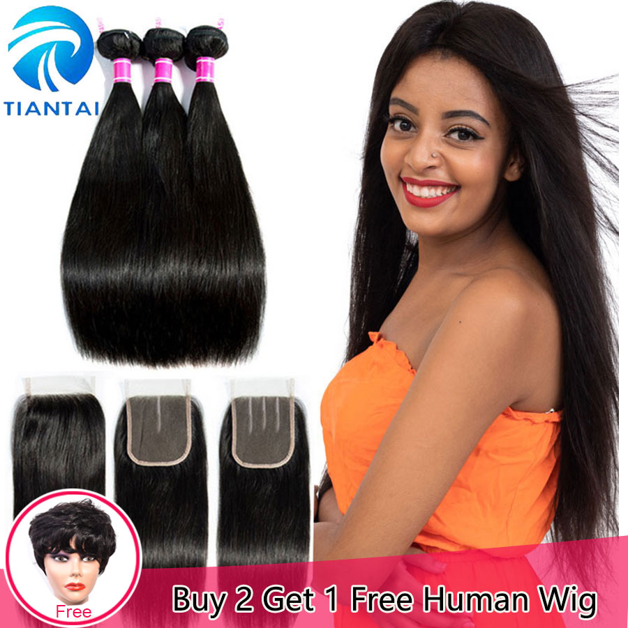 TIANTAI Brazilian Straight Hair Bundles With Closure Natural Color 100 Human Hair Weave with Lace Closure
