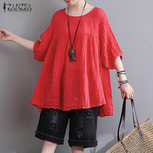 hot deal buy 2018 summer zanzea women casual loose blouses shirts vintage half sleeve o neck pullover tops plus size cotton blusas tees 5xl