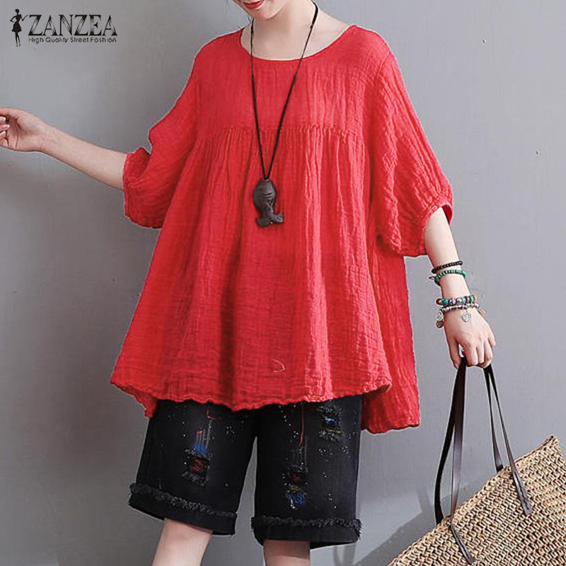 2018 Summer ZANZEA Women Casual Loose   Blouses     Shirts   Vintage Half Sleeve O Neck Pullover Tops Plus Size Cotton Blusas Tees 5XL