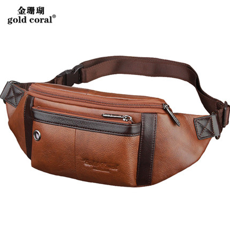GOLD CORAL Genuine Leather Men's Waist Belt Bags With Headphone Perforation Design Chest Bags Casual Travel Male Fanny Packs