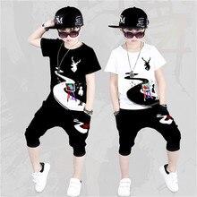 Niñas niños ropa 2019 de verano nueva camiseta + baile hip hop harem  pantalones 2 piezas traje ropa de niños 4-16y chicos conjun. 92b628aaadb