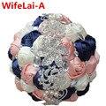 Потрясающие 100% Новый Темно-Слоновая Кость Шампанское Холдинг Букет Невесты Искусственные Цветы Кристалл Шелковый Невесты Свадебные Букеты W228