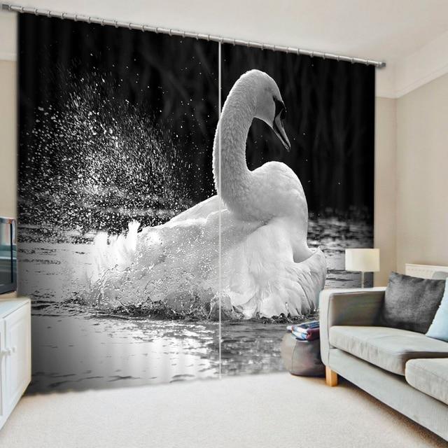 € 41.33 |Impression 3D tons noir et blanc rideaux de cygne avec literie  salon ou hôtel Cortians épais rideaux de fenêtre pare soleil dans Rideaux  de ...