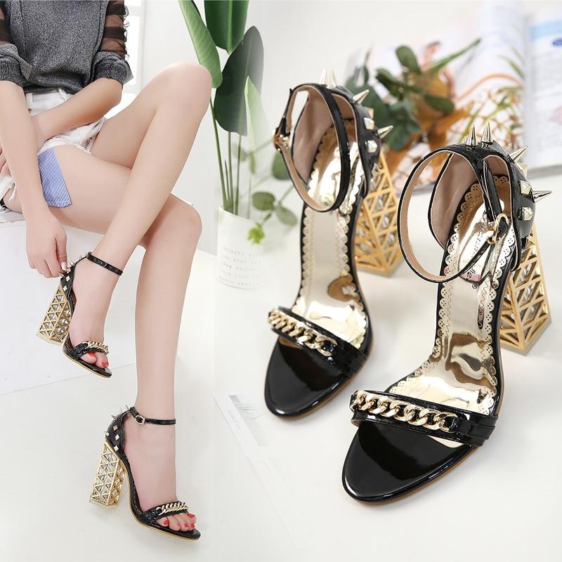 Rugueux Beige noir Avec Nouveau À Bout Haute Ouvert Été Cristal chaussures Rivets Hauts Sandales Talons gOqT0Cwx