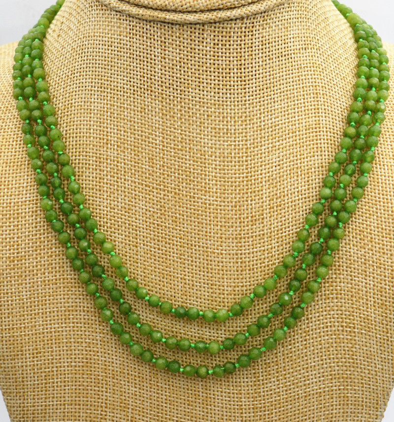 "3 rangées 5x8mm Naturel Vert Peridot faceted gemstone Beads Necklace 17-19/"" AAA"