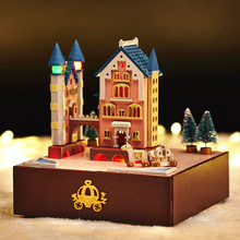 Cute Families House Revolving Castle Wagon DIY Assembled Music Box Toys for Girls Crafts for Children Juguetes Brinquedos sylvanian families house diy french coffee trip handmade house wooden toy crafts for children toys for girls juguetes brinquedos