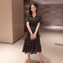 купить Women Casual Polka Dot A Line Maxi Dress Elegant Office Lady V Neck Ruffles Chiffon Dress High Waist Summer Short Sleeve Dress по цене 1107.23 рублей