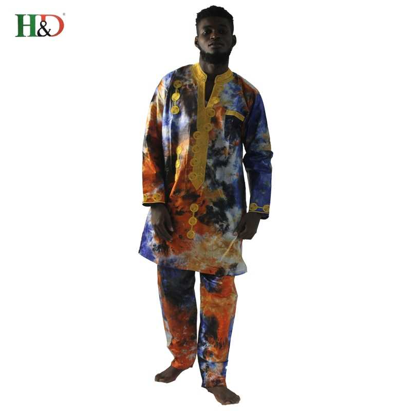 24735071793 H   D 2018 Дашики Африканский мужская одежда Riche Базен вышивка dashiki  печати рубашки с длинным