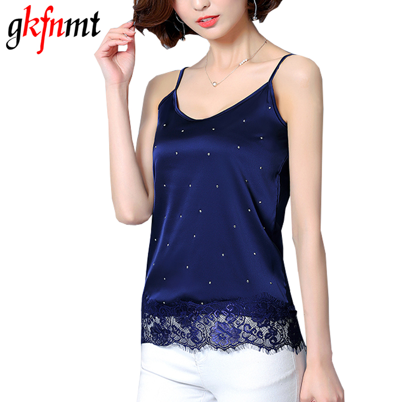 gkfnmt Sexy Fashion Tops Women Strap Sexy Silk Lace Polka Dot Tops Lace Trim Sleeveless Cami Top Black Camisole Plus Size XXXL