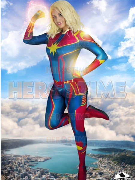 Latest Captain Marvel Costume 3D Print Movie Version Carol Danvers Cosplay Zentai Suit Halloween Superhero jumpsuit adult/kids