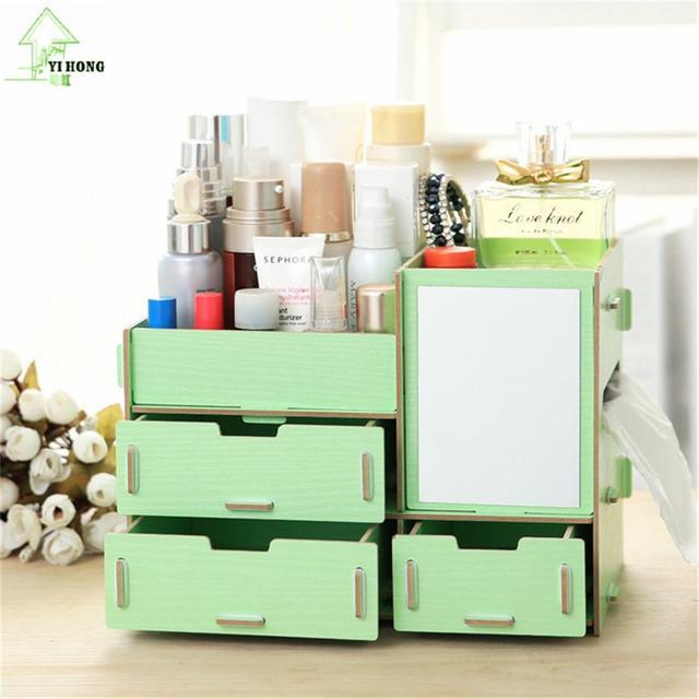 YIHONG Drawer Wooden Storage Boxes Creative Diy Cosmetic Box Multi Function Office Desktop