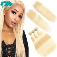 Allrun Blonde Bundles Brazilian Straight Hair Weave With Closure 3Pcs #613 Honey Blonde Human Hair Bundles With Closure Non Remy