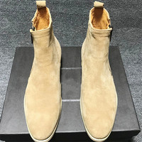 Apricot zipper quality fashion suede round toe men boots Rome luxury genuine leather low heel boots