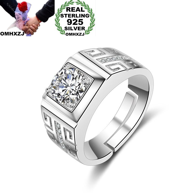 OMHXZJ Wholesale European Fashion Man Party Wedding Gift Silver White Square AAA Zircon 925 Sterling Silver Ring RR174