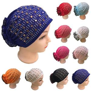 Image 1 - Rhinestone Under Scarf Child Flower Tube Bone Bonnet Inner Ninja Cap Muslim Wrap Beanies Skullies Islamic Chemo Cancer Hat New