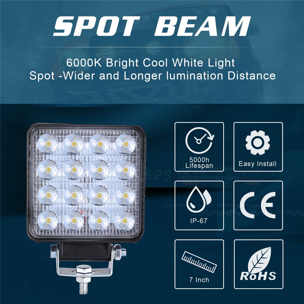 Image 4 - 2x LED Lamps For Cars LED Work Light Pods 4 Inch 160W Square Spot Beam Offroad Driving Light Bar Luces Led Para Auto-in Light Bar/Work Light from Automobiles & Motorcycles