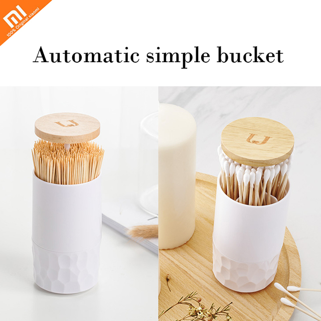 Original xiaomi Toothpick box home living room press automatic simple cotton swab box cotton swab barrel storage box In stock