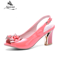 Sgsgesvier النساء الصنادل جنسي ارتفاع كعب سميك براءات الصنادل المفتوحة تو اللمحة حلاوة الزفاف أحذية حجم 34-44 OX006