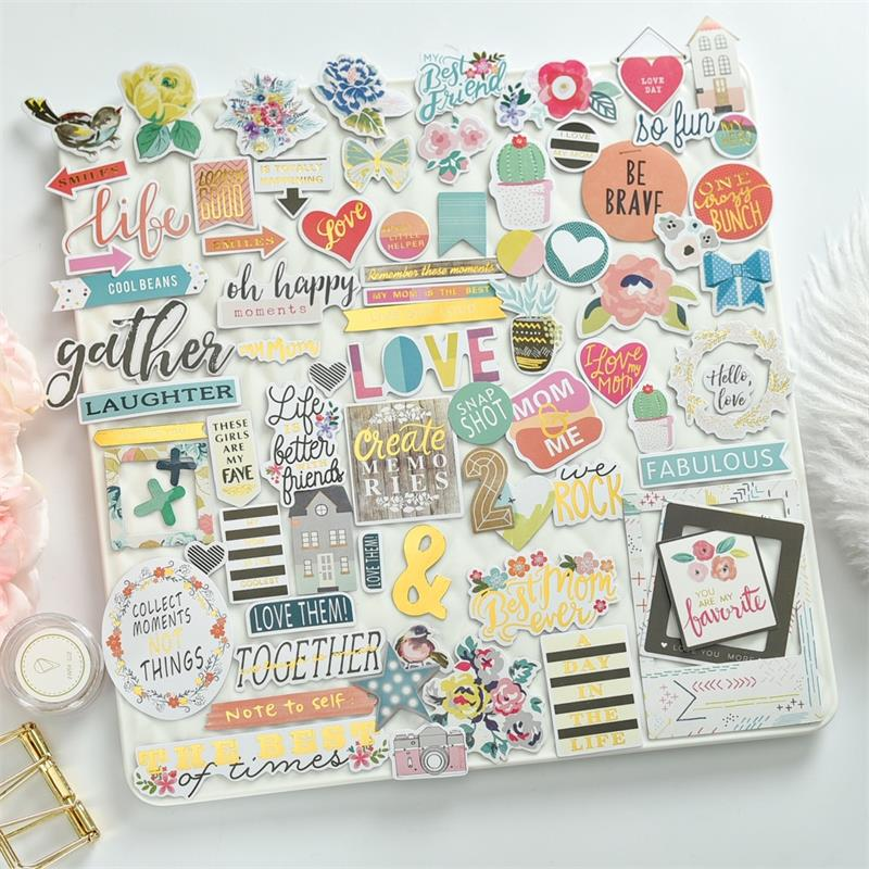 60pc Be Brave Cardstock Die Cuts For Scrapbooking Happy Planner/Card Making/Journaling Project
