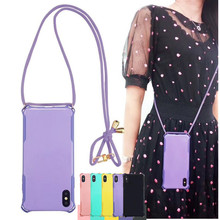 Colorful TPU Cell Phone Case with Lanyard Strap Rope Crossbody Cord Adjustable for iPhone 11 Pro Max 6 7 8 Plus X XR XS