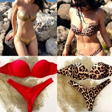 Phaixoneible New Swimwear Push Up Swimsuit Sexy Bikini Set Women Bathing Suit Summer Beachwear Leopard Biquini недорго, оригинальная цена