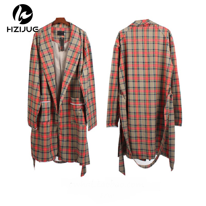 2018 Fifth Collection Women Men Long Plaid Jacket Hiphop Scotland Casual Long Coat Cotto ...