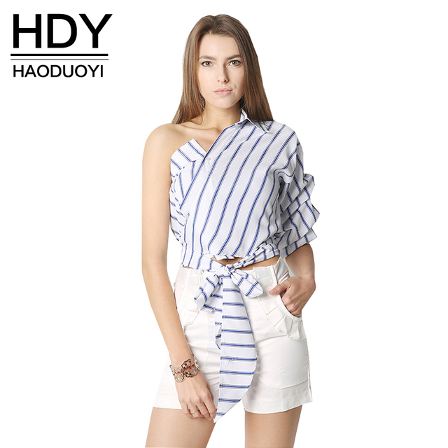3634aac906314 HDY Haoduoyi Striped Women Blouses One Shoulder V-neck Half Puff Sleeve  Casual Shirts Women Bow Ruffle Tie Waist Slim Tops