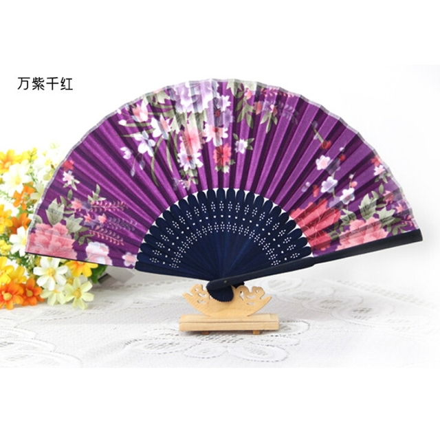 free shipping 150pcslot chinese style decorative bamboo hand fans fabric folding fan with flower - Decorative Fans
