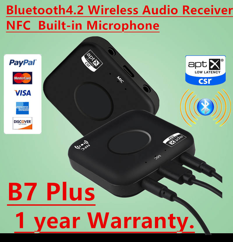 NEUE CSRA64215 Wireless Audio Receiver Adapter B7 PLUS Bluetooth 4,2 Empfänger APT-X NFC CVC6.0 Eingebautes Mikrofon AUX Out