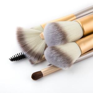 Image 2 - RANCAI Hohe Qualität Make Up Pinsel Set 12 stücke Foundation Powder Blush Lidschatten Kosmetische Werkzeuge Mit Leder Tasche