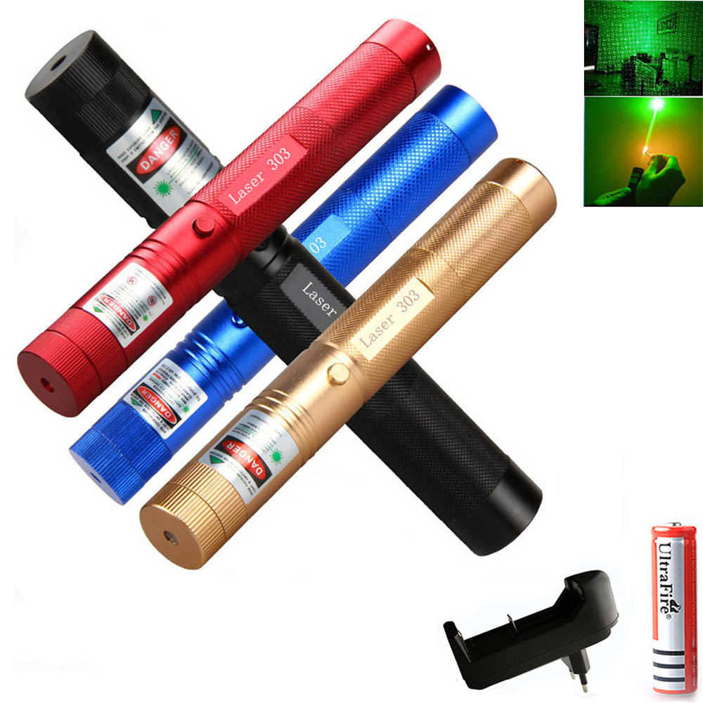 Powerful Green Laser Pointer 5mw Range 1 2 km Military 532nm Laser 303 Pen With Star Cap flashlight Adjustable Focus-in Lasers from Sports & Entertainment