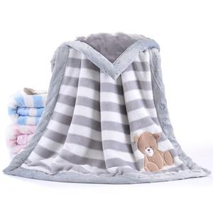 Image 1 - High Quality Baby Blanket Infant Bebe Thicken Flannel Swaddle Envelope Stroller Cartoon Blanket Newborn Baby Bedding Blankets
