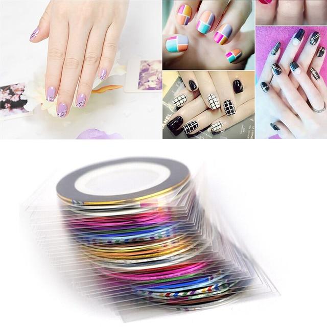 Aliexpress Buy 30 Pcslot Nail Art Striping Tape Line Mixed