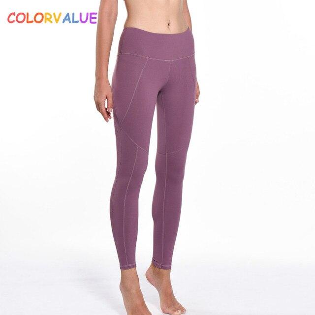 89158372371 Colorvalue Plus Size Plain Jogger Gym Leggings Women Sweatproof Nylon Fitness  Workout Tights Ankle Length Sport Yoga Pants S-XL