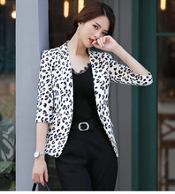 Womens Leopard Elegant Blazer Jacket Women Spring Autumn Ladies Long Sleeve Slim Fit Blazer for Women Animal Print Suit Jacket