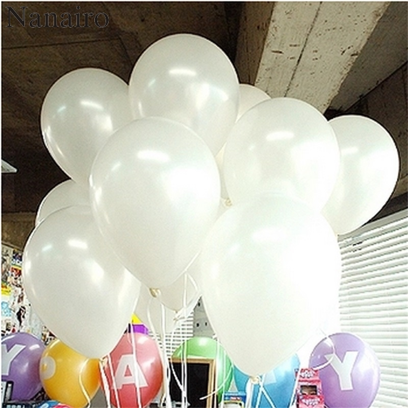 20pcs/Lot 10inch Cute White latex balloon For wedding decoration Pearl Helium Balloon Kids Birthday Party Event Decoration