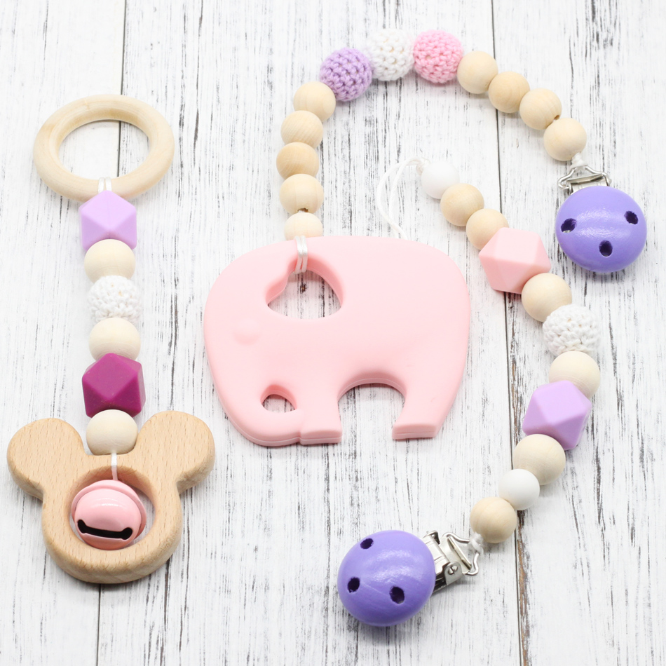 3PCS wooden Baby Teether animal Shaped teether Pacifier Clip Eco-friendly clip chewable Beads wooden teether Baby Bracelet