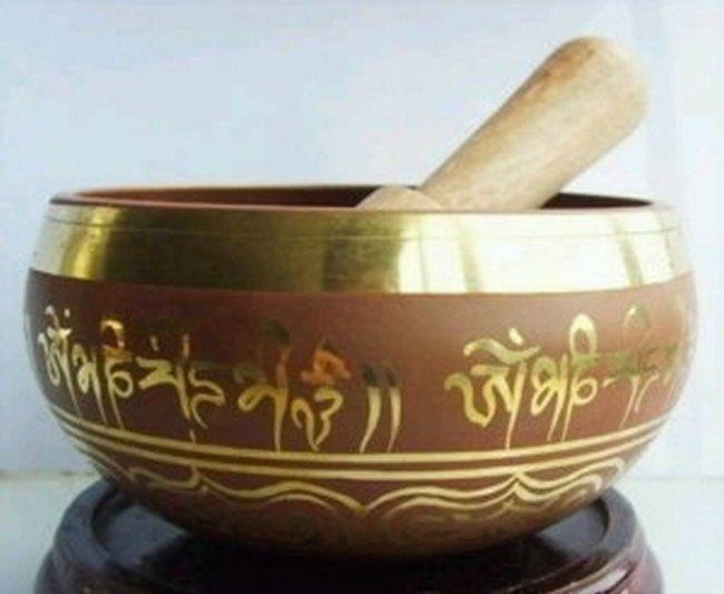 88 мм Коллекционные вещи Восточная старый Редкие Superb Тибетский ОМ кольцо Гонг Yoga Поющая чаша античный сад серебряные украшения Латунь