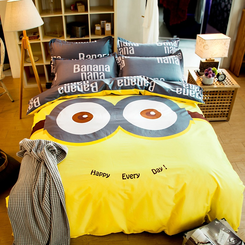 100 Cotton Bedding Sets Bedclothes Cartoon Minions Hello Kitty 4pcs Bedding Set With Duvet Cover Pillow Case Cotton Bed Linen 4pcs Bedding Set Cotton Bedding Setbedding Set Aliexpress