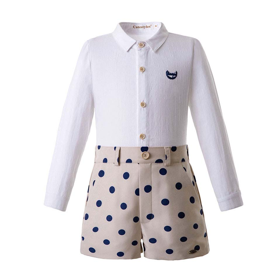 Pettigirl Wholesale Dot Boy Clothing Sets Single breasted Shirt With Embroidery Logo Khaki Pants Casual Kids