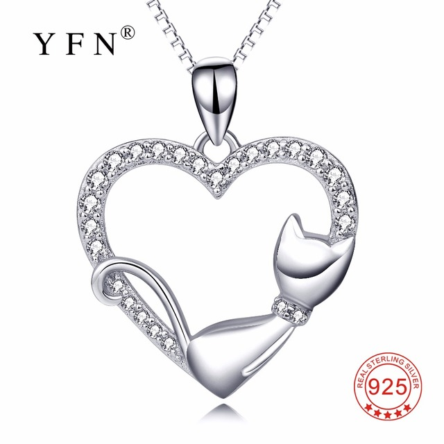 Pyx0063 yfn genuine 925 sterling silver necklace crystal cz love pyx0063 yfn genuine 925 sterling silver necklace crystal cz love heart pendants necklaces cute lying cat mozeypictures Images