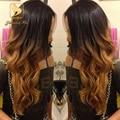 Горячая!! 130 плотность # 1B/#30 полный шнурок ombre человеческих волос парики длинные волнистые два тона цвета бесклеевого парик фронта шнурка с волосами младенца вокруг
